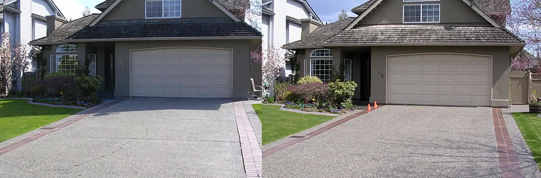 Concrete Smoothing Before and After Pic for House Driveway